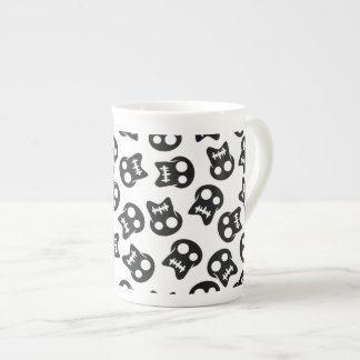Comic Skull black pattern Tea Cup