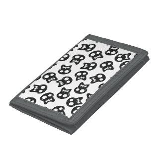 Comic Skull black pattern Tri-fold Wallets
