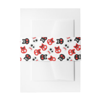 Comic Skull colorful pattern Invitation Belly Band