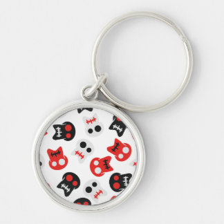 Comic Skull colorful pattern Silver-Colored Round Key Ring