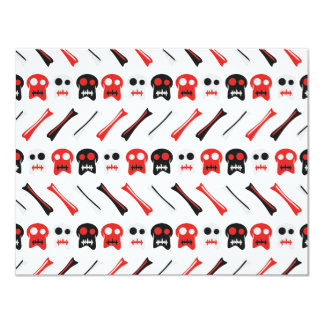 Comic Skull with bones colorful pattern Card
