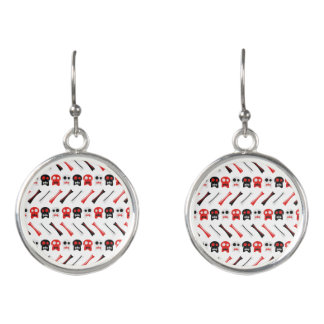 Comic Skull with bones colorful pattern Earrings
