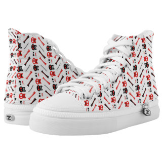 Comic Skull with bones colorful pattern High Tops