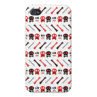 Comic Skull with bones colorful pattern iPhone 4 Case