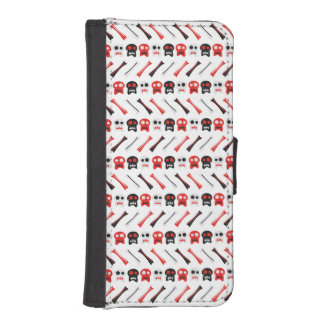 Comic Skull with bones colorful pattern iPhone SE/5/5s Wallet Case