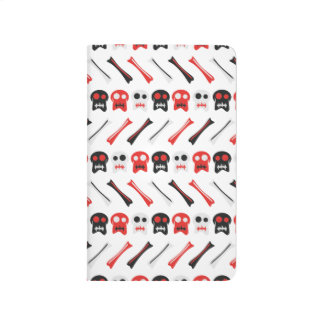 Comic Skull with bones colorful pattern Journal