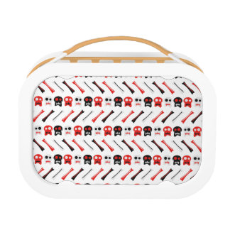 Comic Skull with bones colorful pattern Lunch Box