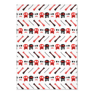 Comic Skull with bones colorful pattern Magnetic Invitations
