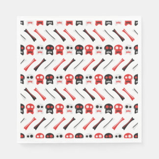 Comic Skull with bones colorful pattern Paper Napkins
