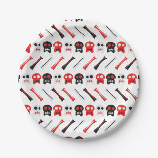 Comic Skull with bones colorful pattern Paper Plate