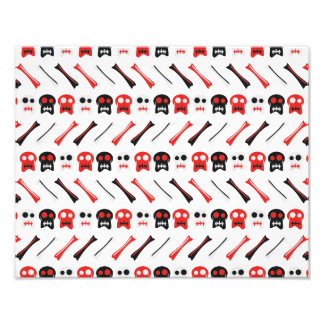Comic Skull with bones colorful pattern Photo Print