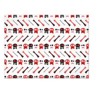 Comic Skull with bones colorful pattern Photographic Print
