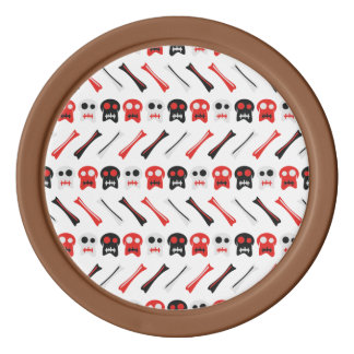 Comic Skull with bones colorful pattern Poker Chips