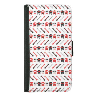 Comic Skull with bones colorful pattern Samsung Galaxy S5 Wallet Case