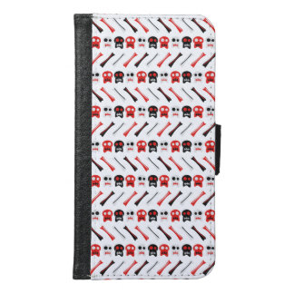 Comic Skull with bones colorful pattern Samsung Galaxy S6 Wallet Case