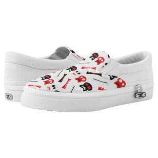 Comic Skull with bones colorful pattern Slip-On Shoes