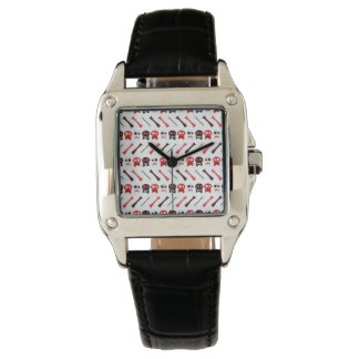 Comic Skull with bones colorful pattern Wrist Watch