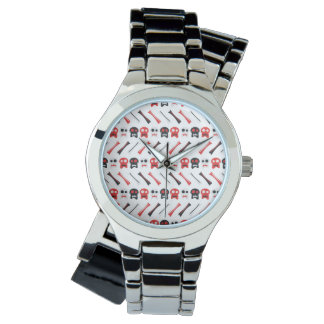 Comic Skull with bones colorful pattern Wrist Watches