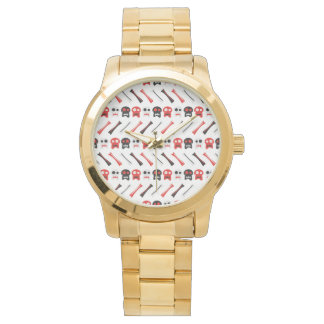 Comic Skull with bones colorful pattern Wristwatch