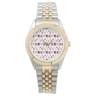Comic Skull with bones colorful pattern Wristwatches