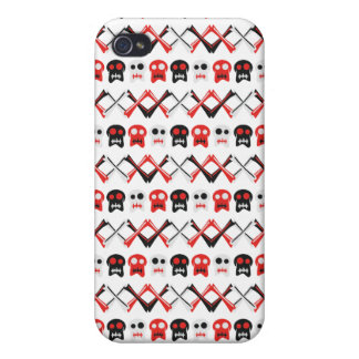 Comic Skull with crossed bones colorful pattern Cases For iPhone 4