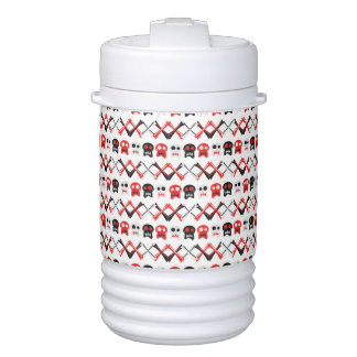 Comic Skull with crossed bones colorful pattern Cooler