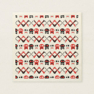 Comic Skull with crossed bones colorful pattern Disposable Serviettes