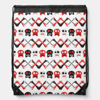 Comic Skull with crossed bones colorful pattern Drawstring Bag
