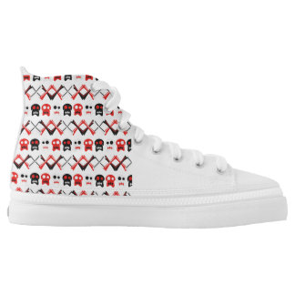 Comic Skull with crossed bones colorful pattern High Tops