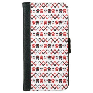 Comic Skull with crossed bones colorful pattern iPhone 6 Wallet Case