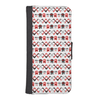 Comic Skull with crossed bones colorful pattern iPhone SE/5/5s Wallet Case