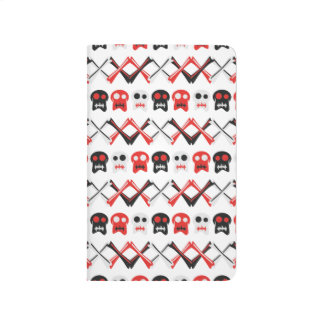Comic Skull with crossed bones colorful pattern Journal