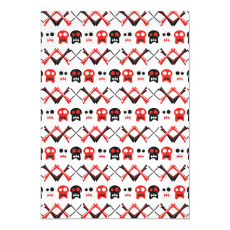 Comic Skull with crossed bones colorful pattern Magnetic Invitations
