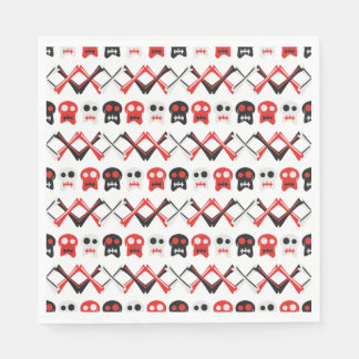 Comic Skull with crossed bones colorful pattern Paper Napkin