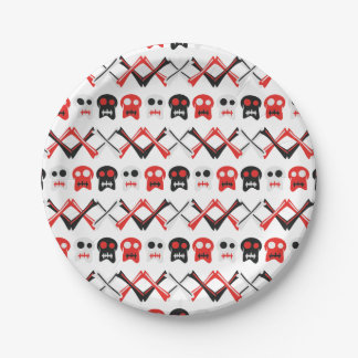 Comic Skull with crossed bones colorful pattern Paper Plate