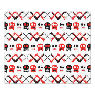 Comic Skull with crossed bones colorful pattern Photo