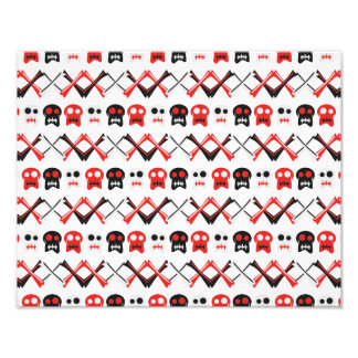 Comic Skull with crossed bones colorful pattern Photographic Print