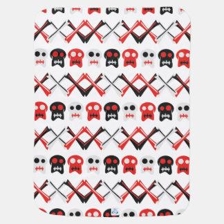 Comic Skull with crossed bones colorful pattern Receiving Blanket