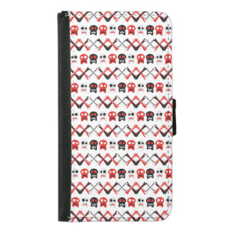 Comic Skull with crossed bones colorful pattern Samsung Galaxy S5 Wallet Case