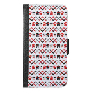 Comic Skull with crossed bones colorful pattern Samsung Galaxy S6 Wallet Case