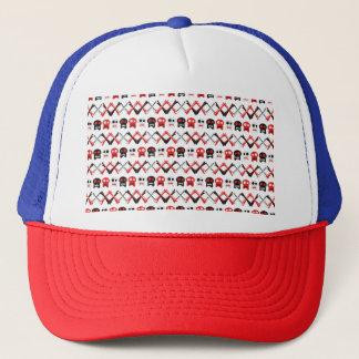 Comic Skull with crossed bones colorful pattern Trucker Hat