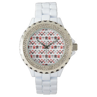 Comic Skull with crossed bones colorful pattern Watches
