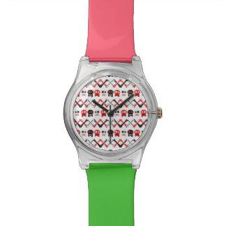 Comic Skull with crossed bones colorful pattern Wrist Watch