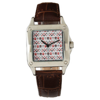 Comic Skull with crossed bones colorful pattern Wrist Watches