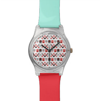 Comic Skull with crossed bones colorful pattern Wristwatch