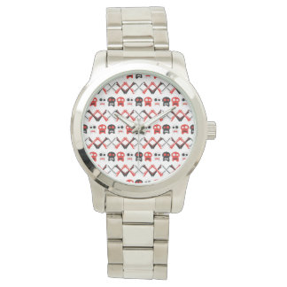 Comic Skull with crossed bones colorful pattern Wristwatches