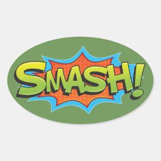 Comic Smash! Oval Sticker