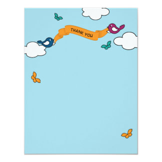 Comic Strip Love Birds Thank You Card Personalized Announcement