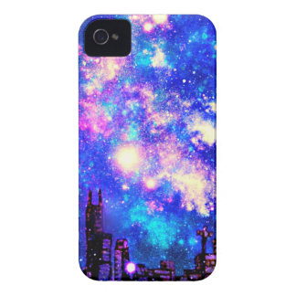 Comic Style City Skyline & Milky Way Night Sky iPhone 4 Case-Mate Case