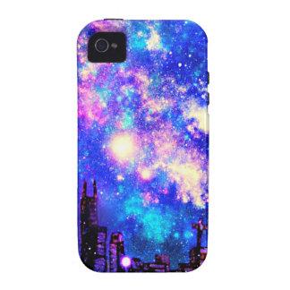 Comic Style City Skyline & Milky Way Night Sky Vibe iPhone 4 Covers
